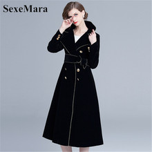 Swing-Dress Velvet European-Station Autumn Winter And Big Windbreaker Real-Shot-Spot