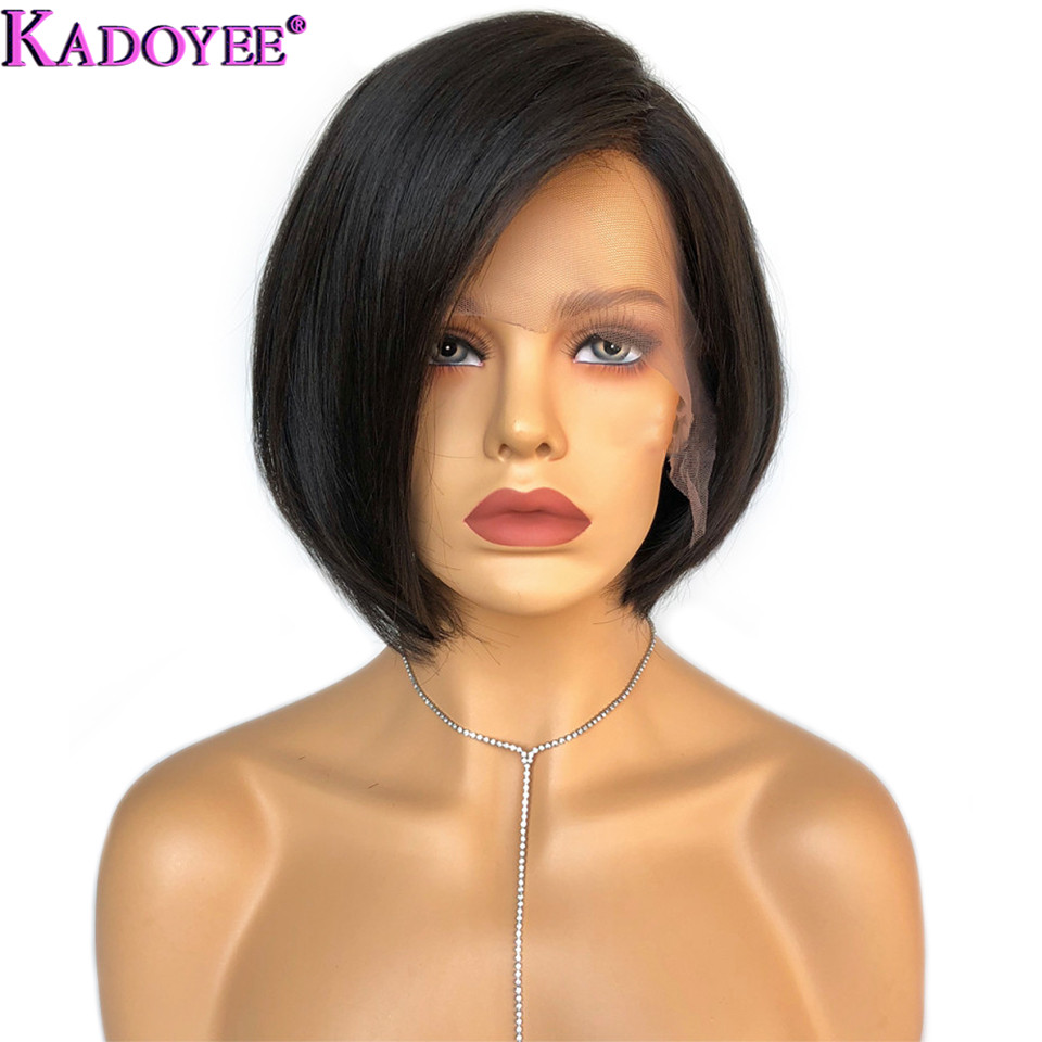 Brazilian Wig Short Lace Front Human Hair Wigs Straight Remy Hair 13x6 / 13x4 Lace Front Bob Wig Pre Plucked 8inch For Women
