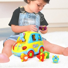 P15C Musical Shape Smart Bus Elephant Driver Enlightenment Vehicle for Preschoolers with 5 Different Stereoscopic Squares