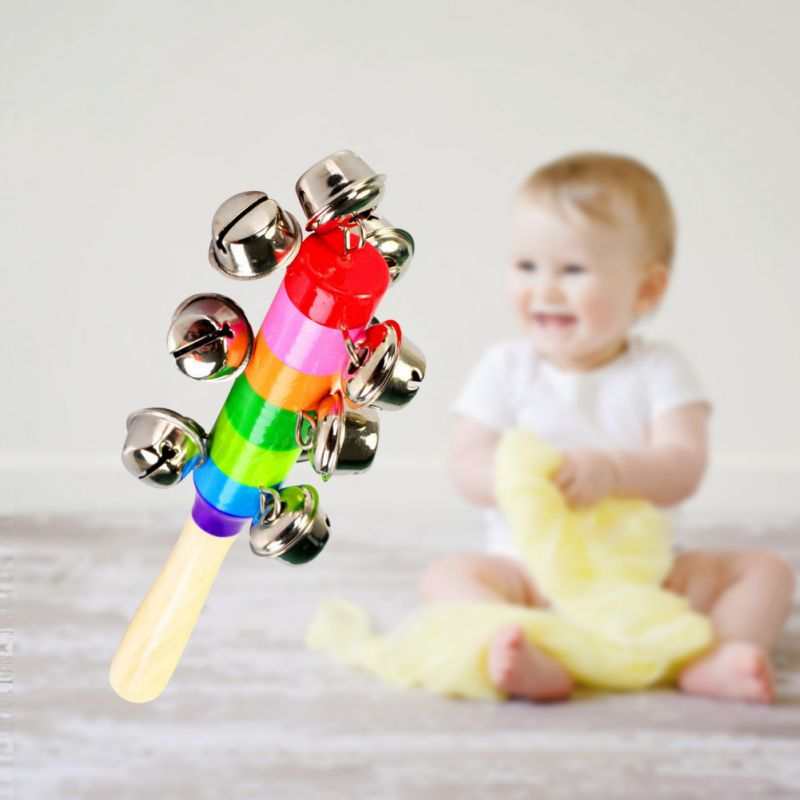 Baby Rainbow Toy Kid Pram Crib Handle Wooden Activity Bell Rattle Rod Bell Toy Musical Instrument