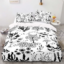 Cartoon Style 140×210 Duvet Cover Set With Pillowcase, 200×200 Quilt Cover,  Tree Pattern  King Size Bedding