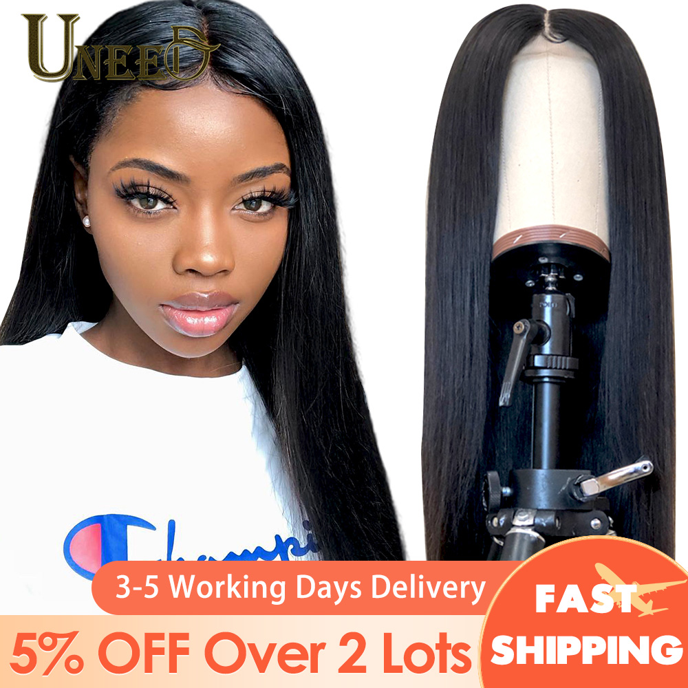 Uneed Malaysian Straight Lace Front Human Hair Wigs 150 180 Density 360 Lace Frontal Wig PrePlucked Straight Human Hair Wigs