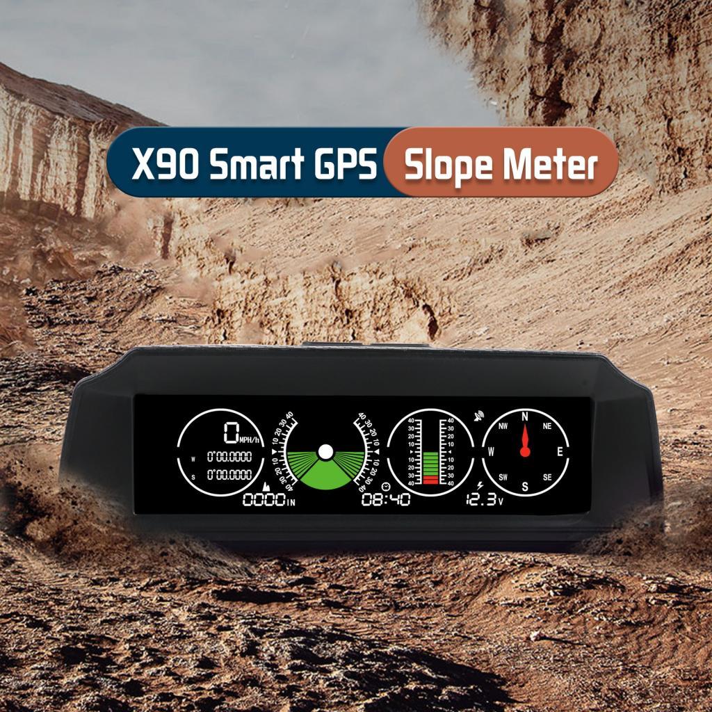 X90 GPS PMH KMH Slope Meter Inclinometer Altimeter Car HUD Automotive