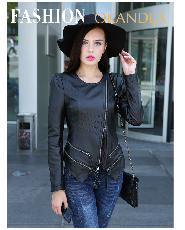 Free Shipping,quality Spring Casual Fashion 100% Genuine Leather Women Slim Jackets.Asian Plus Size Female Sheepskin Jacket