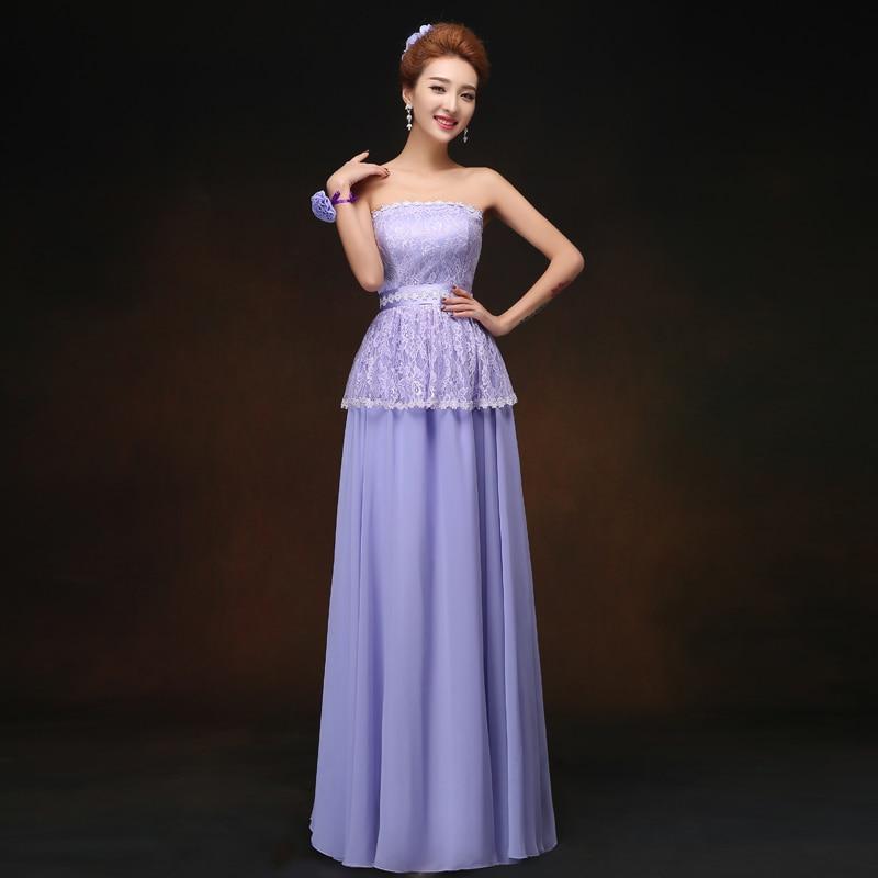Violet Long Chiffon Bridesmaid Dress Junior Vestido Largo Sirena Elegant Dress Women For Wedding Party Strapless Sexy Prom Dress