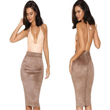 Autumn Winter Sexy Suede Pencil Skirt Women 2019 Fashion Elastic High Waist Office Lady Skirts