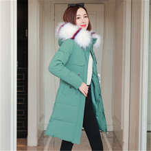Winter Jacket Coat Women's Hooded Warm Fashionable Cotton Ladies Long Solid
