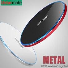 チーワイヤレス充電器 10 ワット充電 iPhone X Xs XR 8 金属高速ワイヤレス用のパッドの充電 s9 S10 注 8 9 10 プラス