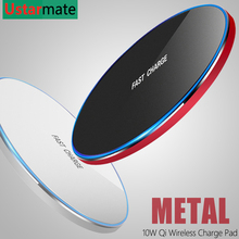 Беспроводное зарядное устройство Qi, 10 Вт, быстрое зарядное устройство для iPhone X, Xs, XR, 8, металлическая Беспроводная зарядная площадка для Samsung S9, S10, Note 8, 9, 10 Plus
