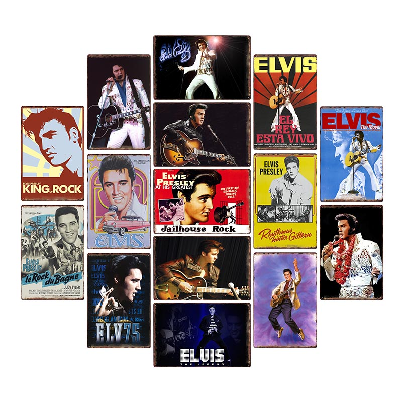 Винтажные оловянные таблички Elvis, ретро декоративные металлические настенные декоративные тарелки, домашний декор 20x30 см