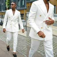 Double Breasted White Suits for Men Groom Wedding Tuxedos Peaked 2 piece Slim fit Man Suit Set Jacket with Pants Fashion New