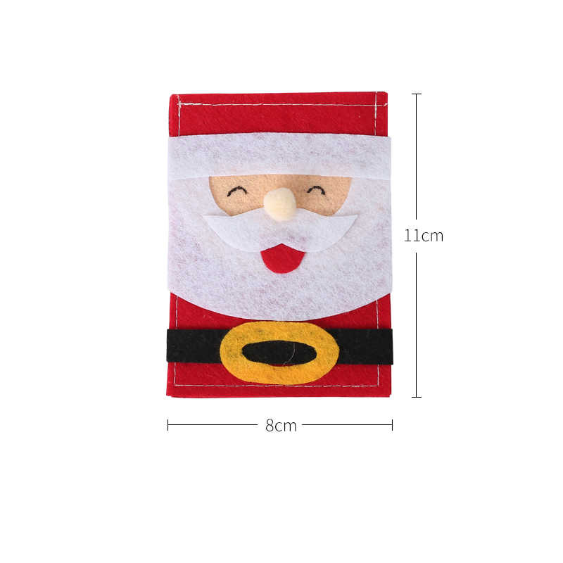 New Christmas Tableware Cutlery Knife Fork Holder Sack Christmas Pocket Bags Santa Claus Kitchen Table Decoration For Home Party
