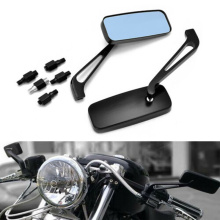 1 Pair Motorcycle Rear View Mirrors Universal Aluminium CNC Side RearView Mirror Blue For Honda Yamaha 8/10mm