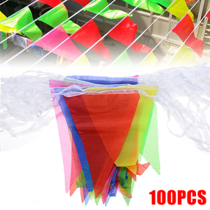 Image 1 - 100pcs Colorful Bunting Banner Flags Pennant Chain Garland Bunting Flag Chain Garland Birthday Festive Party Decoration