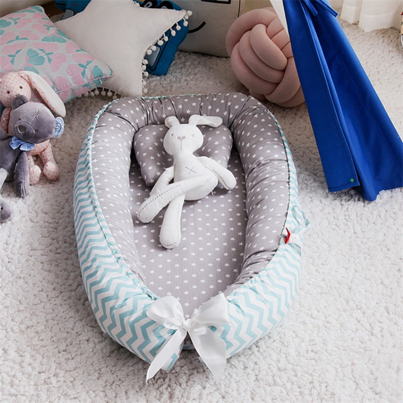 Portable Baby Nest With Pillow Cushion Newborn Travel Bed Crib Infant Bed Nest