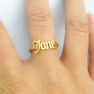Женские и мужские кольца ручной работы на заказ, с английским именем, регулируемые кольца Anillos Mujer, персонализированные кольца в подарок на с...