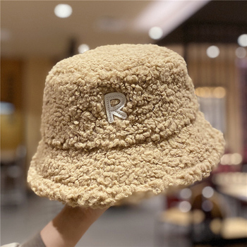 2020 New Winter Hats Women Letter Embroidery Bucket Hats Thick Warm Lamb Wool Bucket Hats hats for women kids hats image
