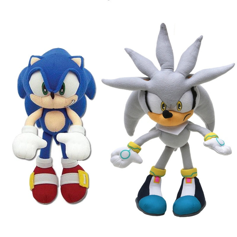Set Of 2pcs 20-27cm Sonic Toys Super Sonic The Hedgehog Plush Toy Sonic Shadow Knuckles Tails Cute Soft Stuffed Dolls Keychain