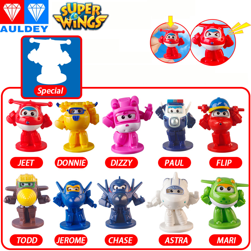AULDEY Super Wings Newest Blind Box Capsule Toys Original Mini Robot Collectible Children Deformation Action Figures Toys ヒステリック ミニ 高 画質