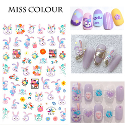 1 Pcs 2021 New design with the same cartoon animal manicure sticker bear rabbit and princess nail paste manicure decal