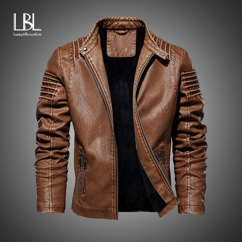 New Autumn Winter Men's Leather Motorcycle Jacket PU Fleece Jacket Warm PU Baseball Jacket Large size M-5XL Tops Bomber Overcoat