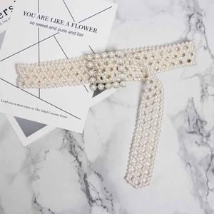 Image 5 - SeeBeautiful 새로운 패션 2020 여름 가을 남자 만든 화이트 진주 짠 중공업 와이드 벨트 스퀘어 핀 버클 거들 여성 A063