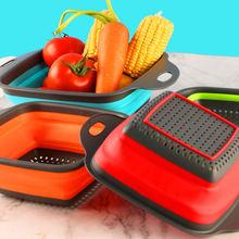 Складная корзина для мытья фруктов и овощей ситечко portabl