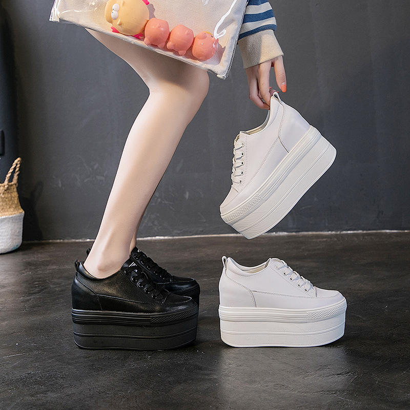 Single Shoes Female 2020 Autumn Women's Shoes Genuine Leather Thick Bottom Small White Shoes Muffin With Inside Increase Casual