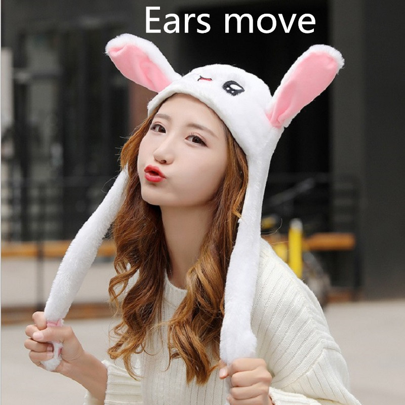 Newly Cute Bunny Plush Hat Funny Playtoy Ear Up Down Rabbit Gift Toy For Kids Girls Girlfriend