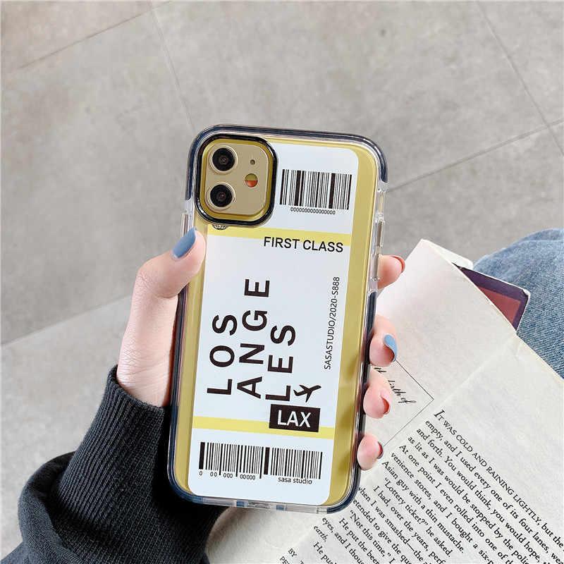 New York Los Angeles Paris Tokyo şehir etiket barkod iphone için kılıf X XS MAX 11 Pro XR 7 8 artı lüks seyahat hava bilet kapağı