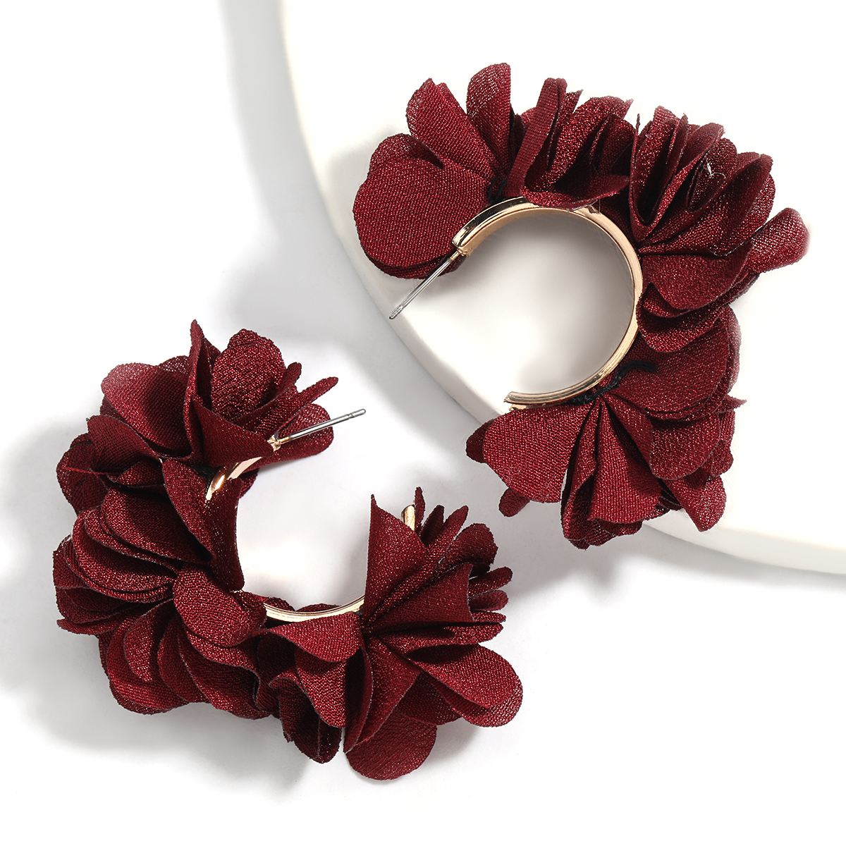 Pauli Manfi Fashionable Simple C-shaped Metal Fabric Flower Earrings Women's Exaggerated Jewelry Accessories
