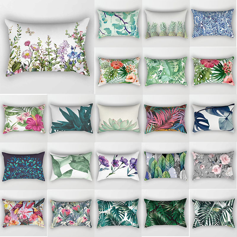 hot sale tropical flowers plants bed pillow case travel bedroom pillow cover rectangle small pillow cases 50 30 cm
