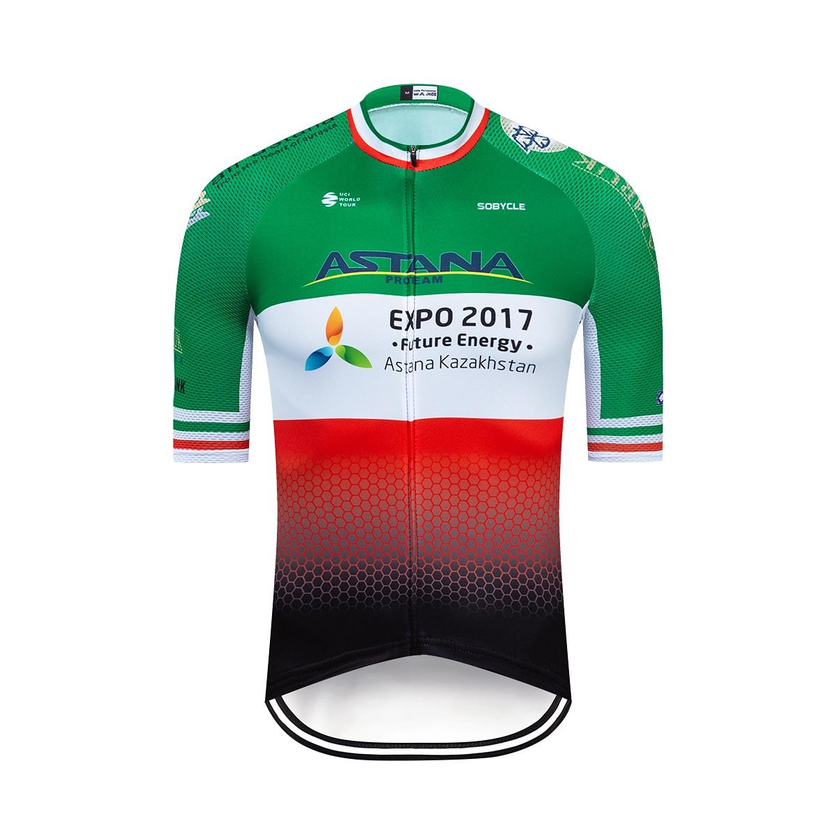 Купить с кэшбэком 2020 Pro Team ASTANA Green Cycling Clothing Bike Jerseys Short Sleeve Ropa Mens Bicycle Summer Pro Cycling Jerseys Triathlon Kit