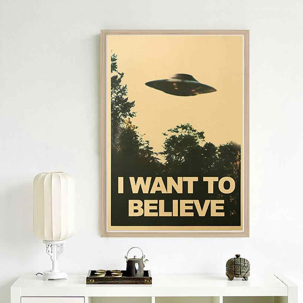 50.5x35cm I Want To Believe Vintage UFO Painting Poster Wall Sticker Home Decor  diamond painting Vintage Style  UFO Proverb Pat