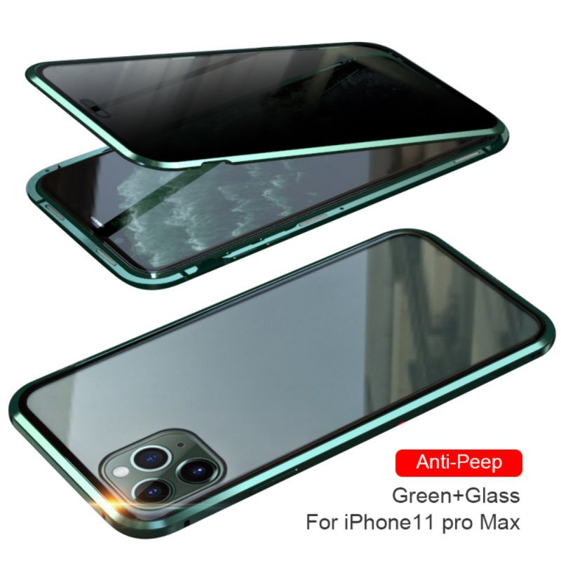 Magnetic Privacy Protective Case For Iphone XS XR Xs Max 7 8 Plus 11 Pro MAX Magnet Metal Double Side Tempered Glass Cover (US STOCK)