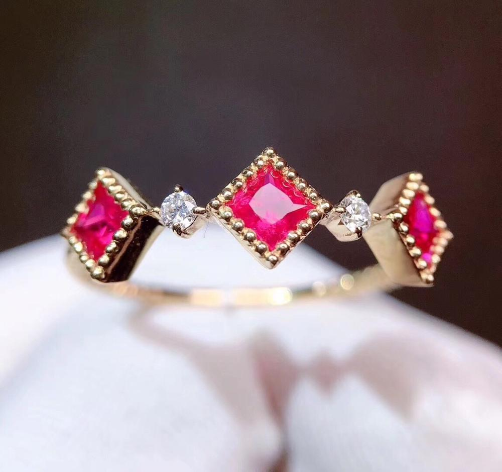 Fine Jewelry  Pure 18 K Gold Jewelry Natural Red Ruby 0.51ct Gems Diamonds Wedding Engagement Female Rings for Women Fine Ring