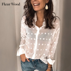 FLEUR WOOD Blouse Women Tops Long Sleeve Women Blouses V-neck Tops Women Dot Sexy Blouse Shirt Ladies Shirt Women Clothes 2021