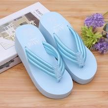 Zapatillas de plataforma para mujer, chanclas informales de playa, Sandalias de tacón alto sexys para verano, TX156