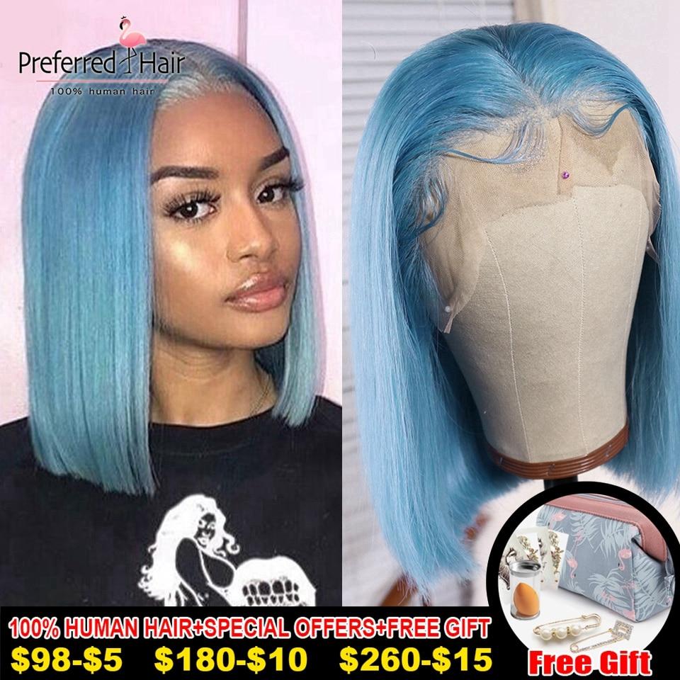 Preferred Light Blue Wig Brazilian Remy Hair Purple Lace Front Wig Preplucked Glueless Short Human Hair Bob Wigs For Black Women