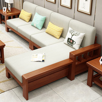 Solid Wood Sofa And Tea Table Combination Living Room Outfit Modern Chinese Style Furniture LADY'S Corner Rubber Wood Sofa Set