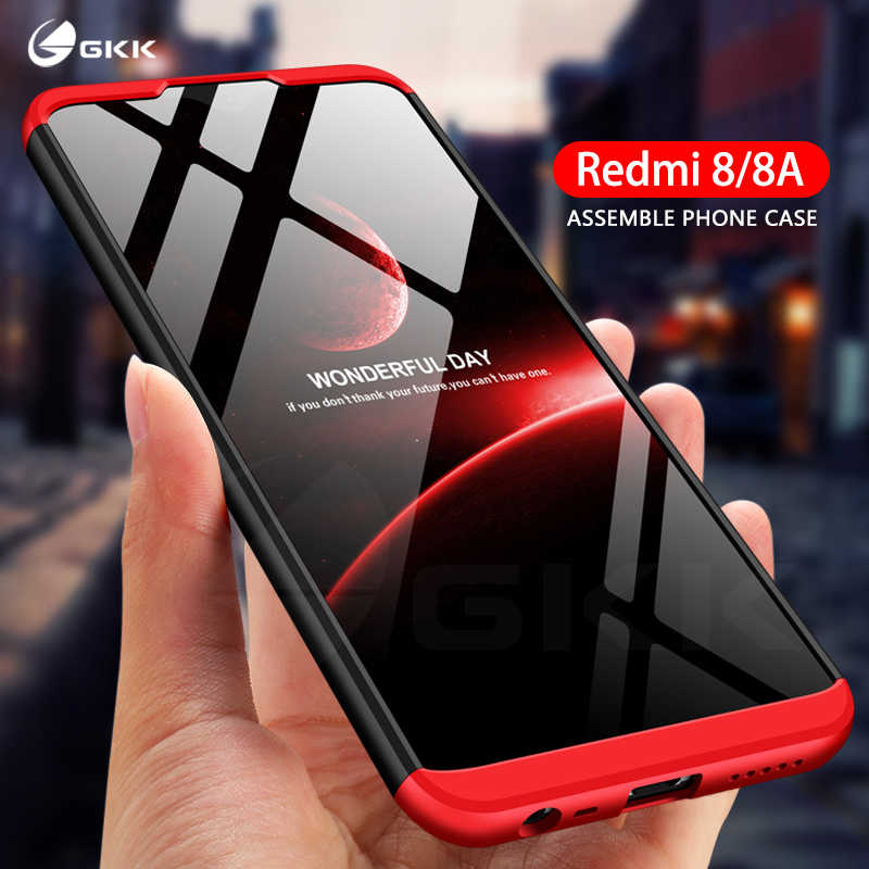 GKK Asli Case untuk Xiaomi Redmi 8 8A Case 360 Full Protection Slim Armor Shockproof Hard Matte Cove untuk Redmi 8 8A Case Funda