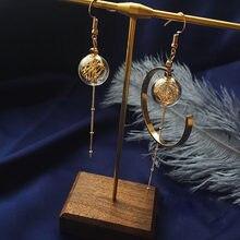 Unique cuivre fil verre boule asymétrique boucles d'oreilles pour les femmes 2020 Original fait à la main en laiton Vintage goutte longues boucles d'oreilles