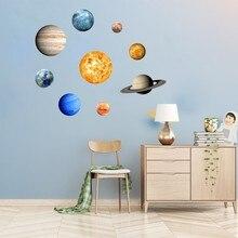 9 Pcs/Set  9-Planet Solar System Fluorescent Wall Stick Plane Wall Sticker Universe Planet Galaxy Room  House Decoration цена 2017