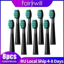 Fairywill – brosses à dents électriques de remplacement, 8 têtes pour FW-507 FW-508 FW-917
