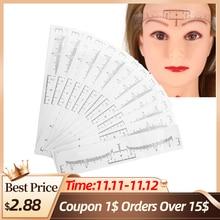50pcs Disposable Eyebrow Ruler Sticker Eyebrow Shaping Tool Eyebrow Tattoo Makeup Measurement Stencil Template Microblading