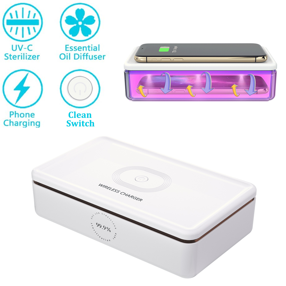 Multifunctional UV Sterilizer Wireless Charger Box, Aromatherapy Function Disinfector,Cell Phone Cleaners UV Light Sanitizer Box