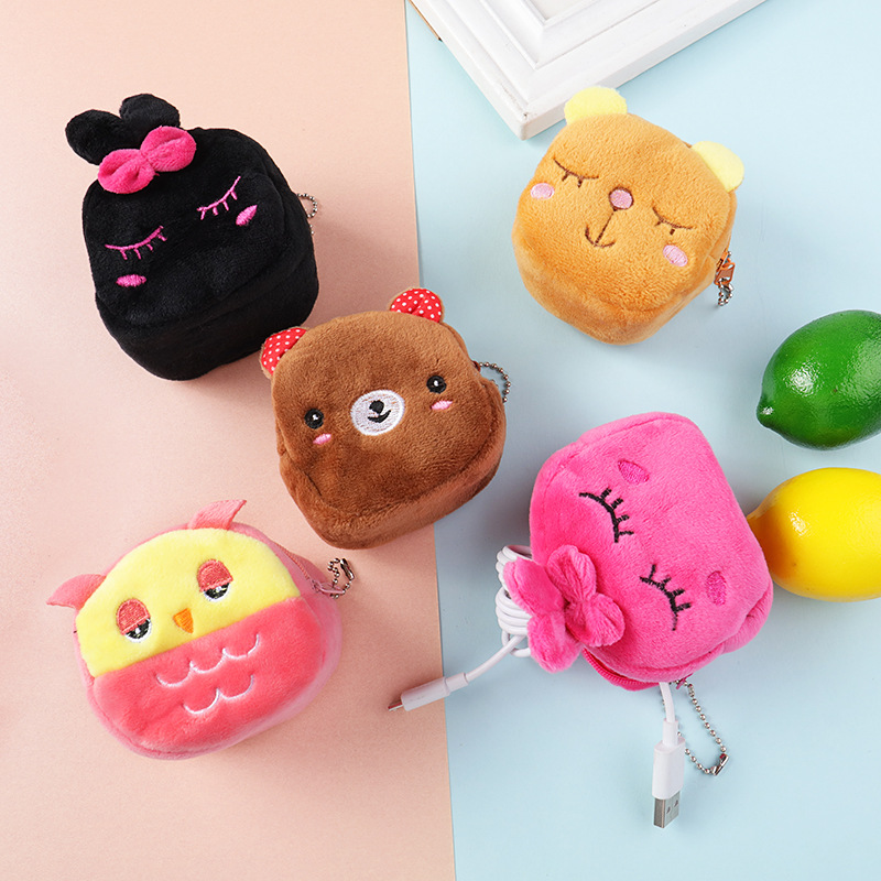 Soft Plush Cartoon Animal Cute Coin Purse Mini Zipper Kids Girl Coin Wallet Women Earphone Lipstick Money Card Bag Pouch Purse