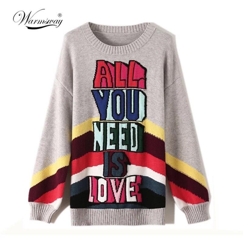 Marke Designer 2021 Herbst Winter Pullover Dicke Warme Pullover Mode Regenbogen Brief Jacquard Strickwaren Frauen O Neck Tops C-043