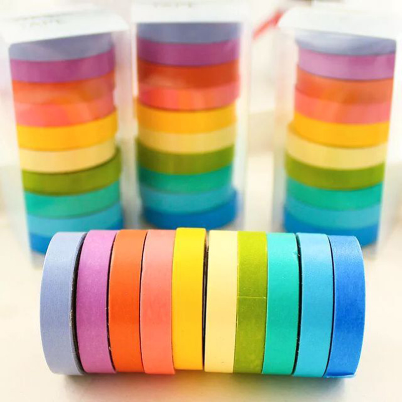 10 Pcs/Set Rainbow Washi Tape Cute Masking Tape Decorative Adhesive Tape For Sticker Scrapbooking DIY Diary Stationery Tape