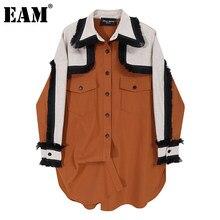 [EAM]-blusa holgada de manga larga con solapa nueva para primavera y otoño, camisa holgada de Color marrón con solapa nueva, 2021